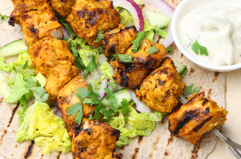Download Chicken Tikka Kebab Chapatti Wrap Stock Image   Image Of Curry,  Bread: 33608347