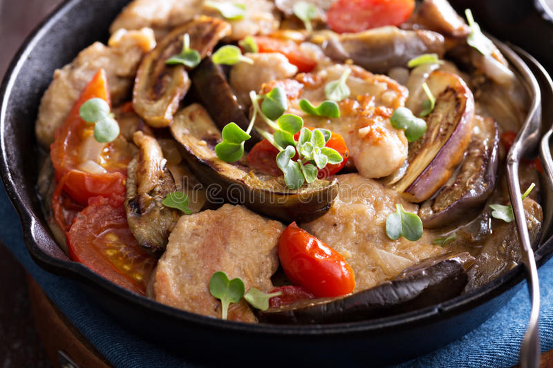 Chicken with tomatoes and eggplant stock photo