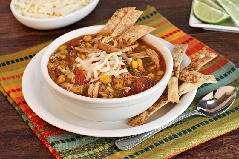 Chicken Tortilla Soup royalty free stock images
