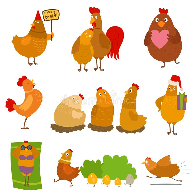 Chicken Vector Cartoon Chick Character On Happy Birthday Party Or ...