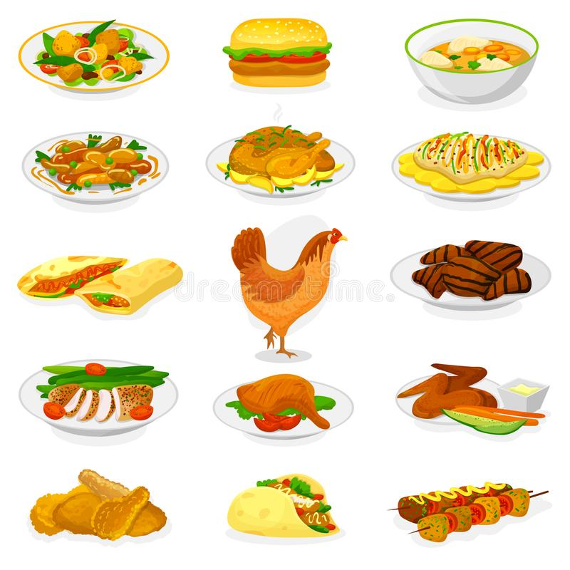 Chicken vector cartoon chick character hen and food chicken-wings with fried potatoes and barbecue meat for dinner royalty free illustration