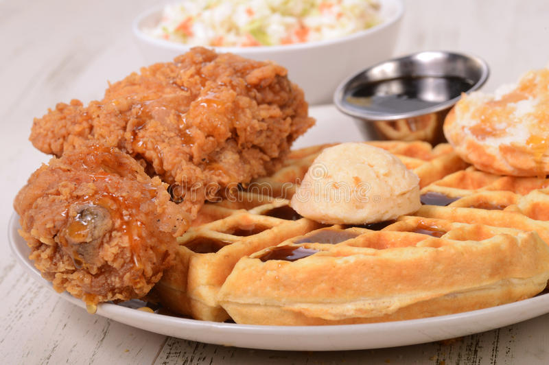 Chicken and Waffles with cole slaw royalty free stock photo