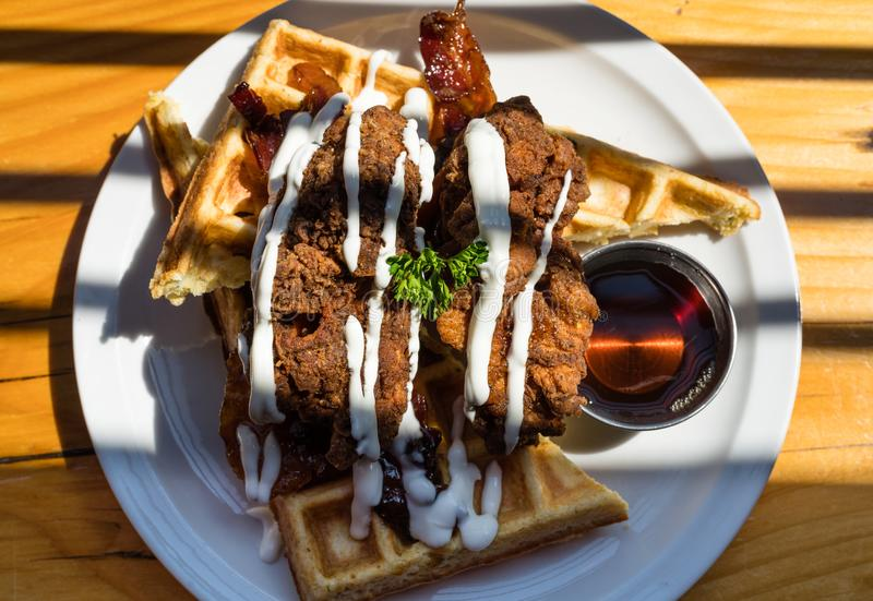 Chicken and waffles in Vancouver royalty free stock photos