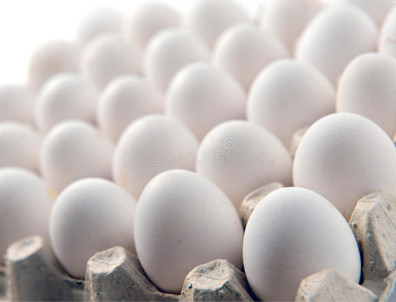 Chicken white egg in a cassette tray or carton box. Package of raw chicken eggs for meal or other health food stock images