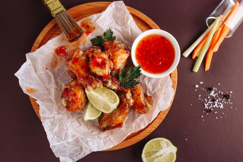 Chicken Wing Sauce Spicy Grill Top Down View stock photo