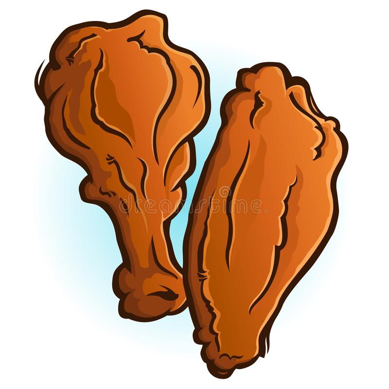 Chicken Wings Cartoon Vector Illustration. Illustration of a pair of delicious chicken wings flat and drumstick royalty free illustration