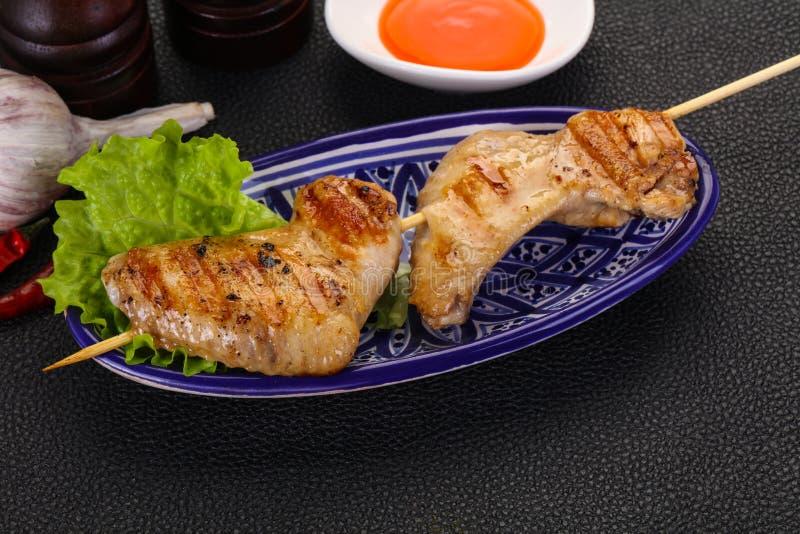 Chicken wings skewer royalty free stock image