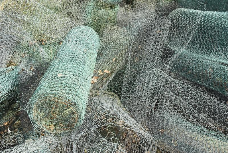 Chicken Wire. A roll of chicken wire cable stock images