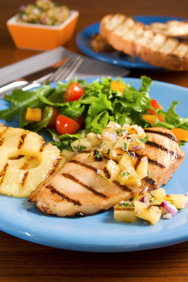 Free Chicken With Pineapple Salsa Stock Photo - 5158650