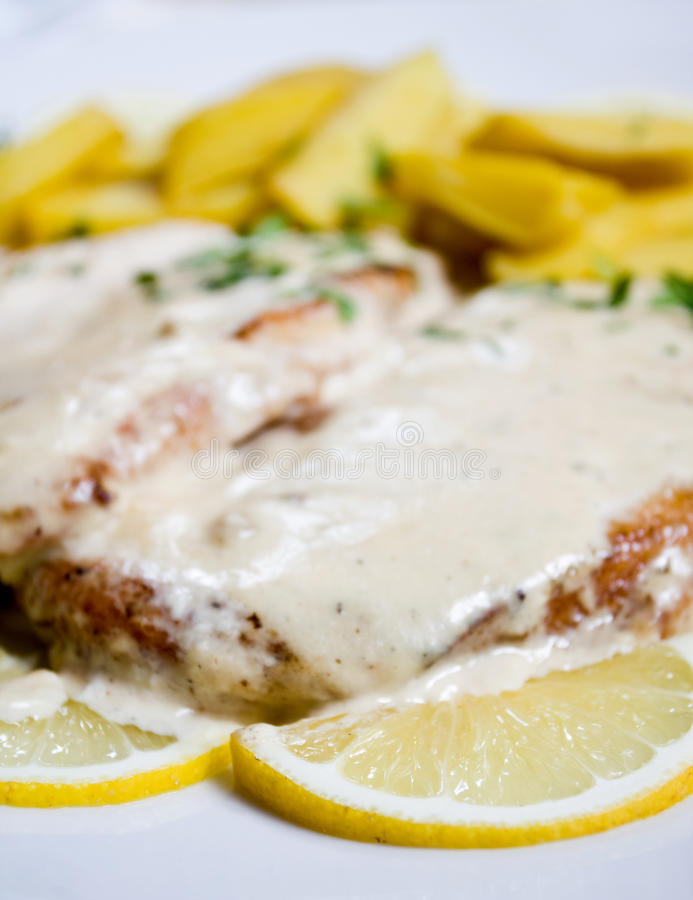 Free Chicken With Potatoes And Lemons In A Dish Stock Images - 20262744