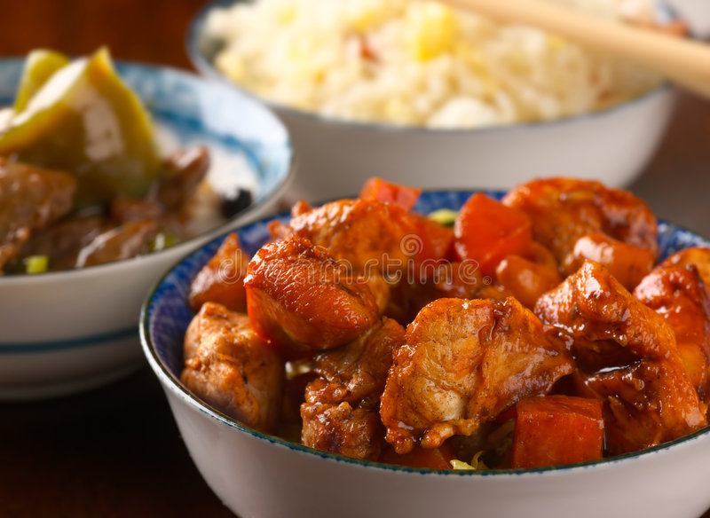 Chicken in yellow bean sauce royalty free stock images