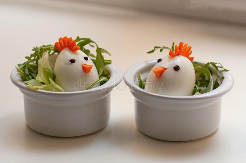 Chickens from eggs. Easter snacks for a party. Selective focus . royalty free stock images