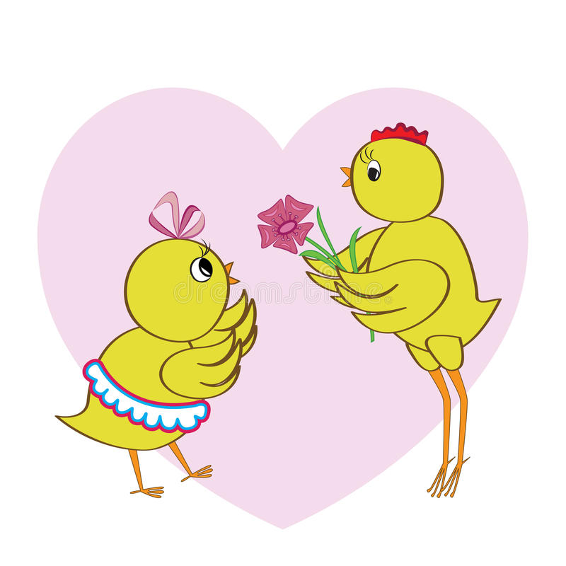 Download Chickens in love stock vector. Image of chick, vector - 25632145
