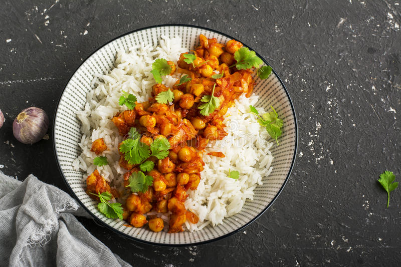 Chickpea curry with basmati rice. Top view, horizontal stock image