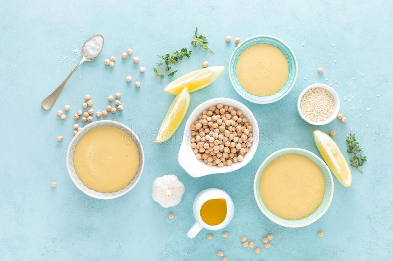 Chickpea sauce with fresh lemon juice, sesame seeds, garlic and olive oil, hummus royalty free stock photography