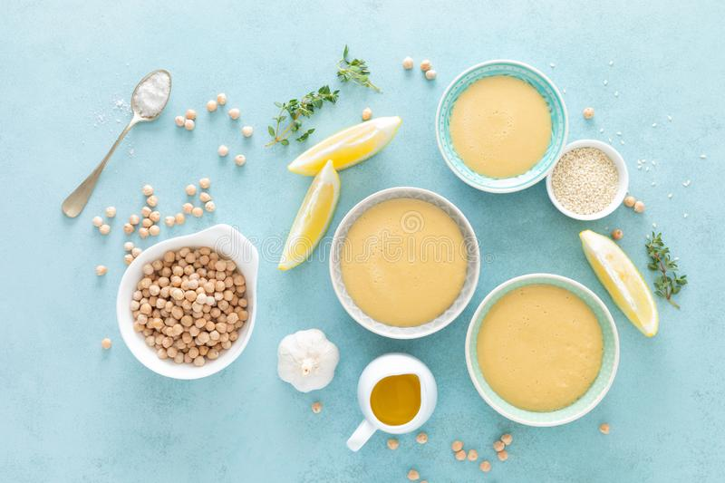 Chickpea sauce with fresh lemon juice, sesame seeds, garlic and olive oil, hummus royalty free stock images