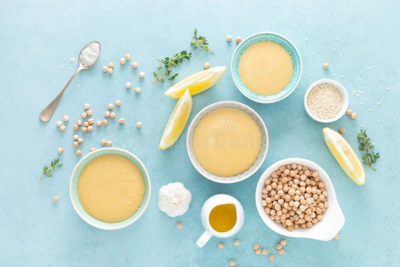 Chickpea sauce with fresh lemon juice, sesame seeds, garlic and olive oil, hummus stock image