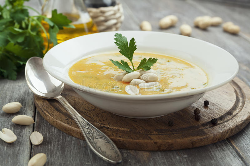 Download Chickpea Soup With Peanuts And Herbs Stock Photo - Image of puree, spices: 39502904