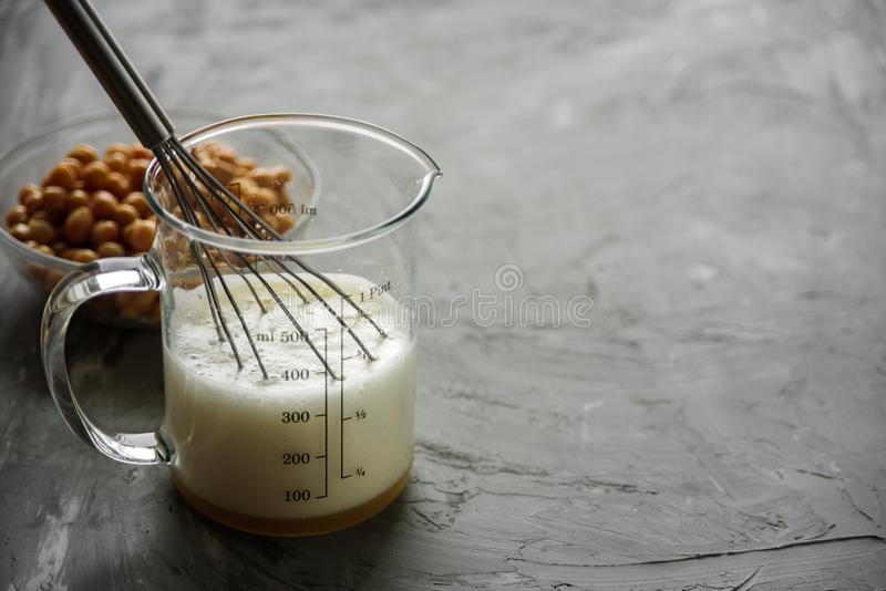 Chickpea water aquafaba whipped. Egg replacement. Vegan. Concept royalty free stock image