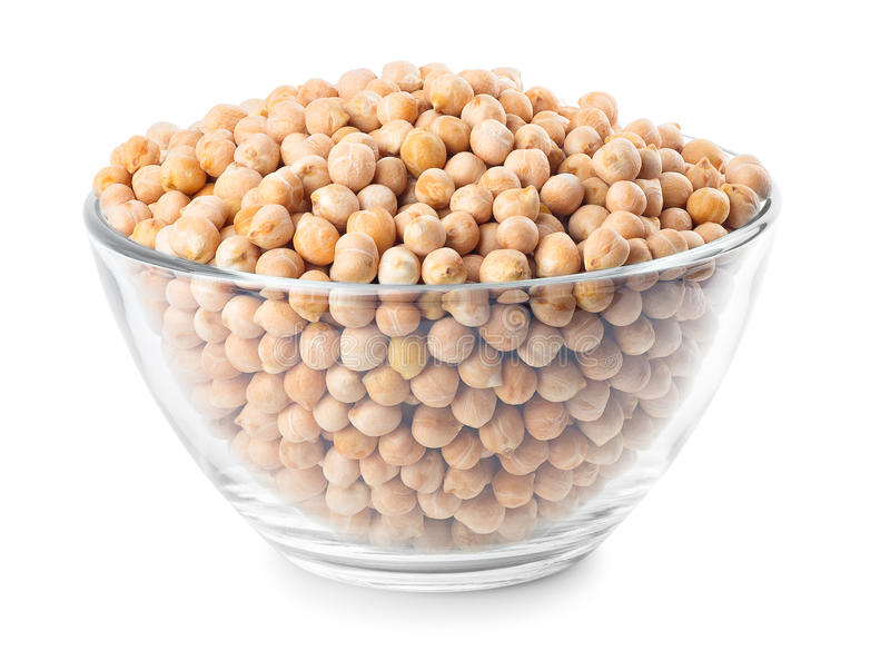 Chickpeas on glass bowl stock photos