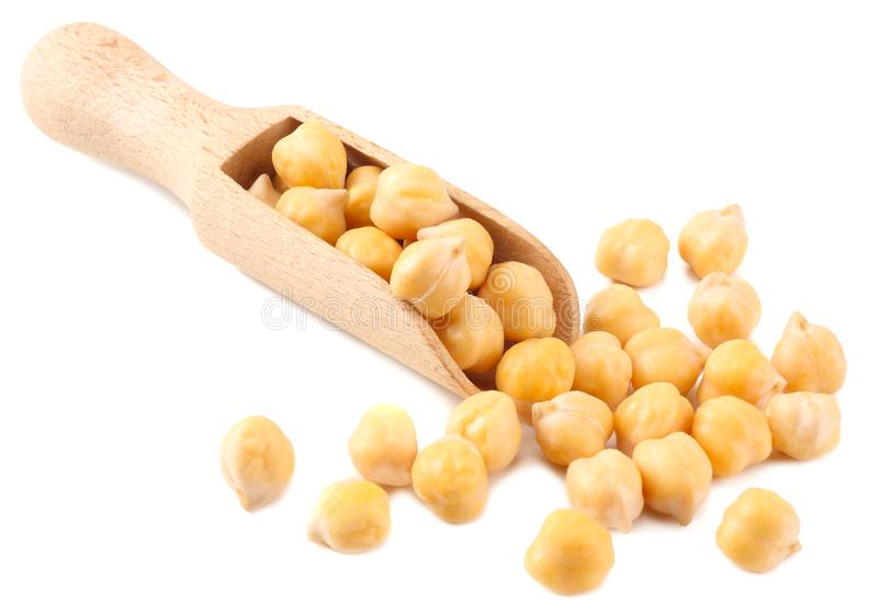 Chickpeas in wooden spoon isolated on white background royalty free stock images