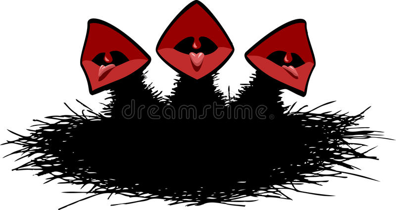 Chicks. Hungry chicks in the nest, vector stock illustration