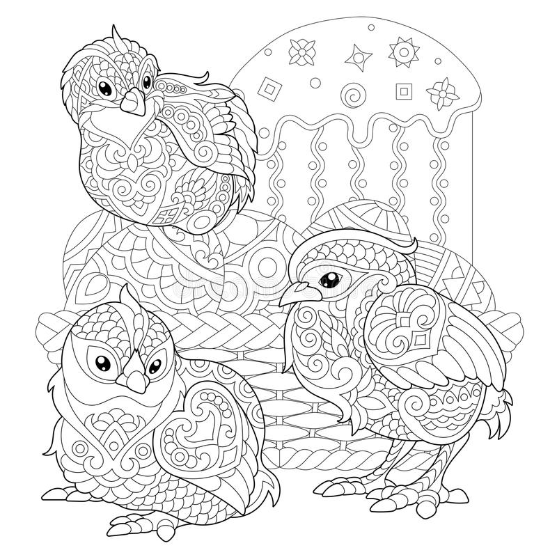 chicks around basket easter eggs easter cake coloring page adult colouring book antistress freehand sketch drawing