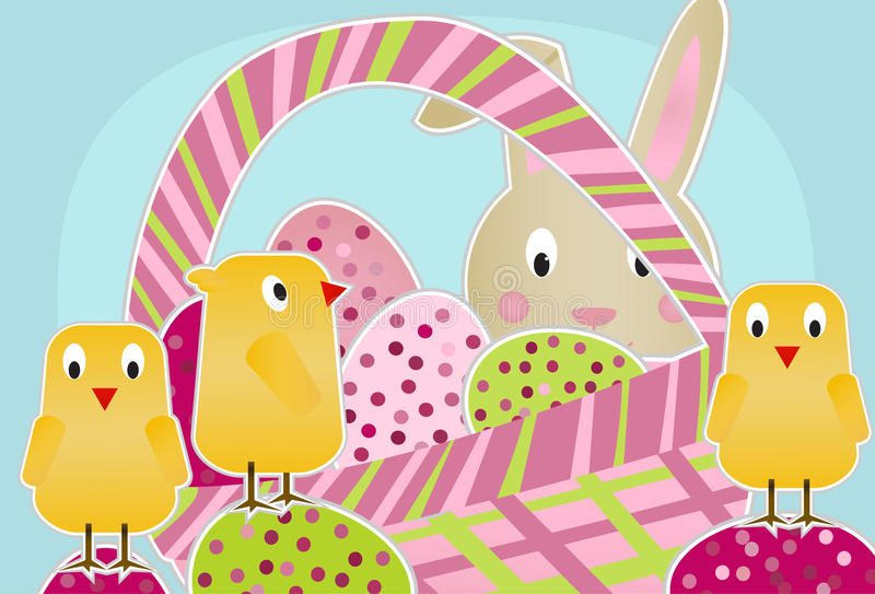 Chicks, Bunny and Eggs. Cute chicks standing on eggs around an egg-filled easter basket with the easter bunny peeking through vector illustration