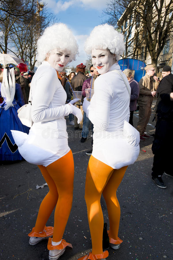 Costumed Chicks on Carnival in Duesseldorf stock image