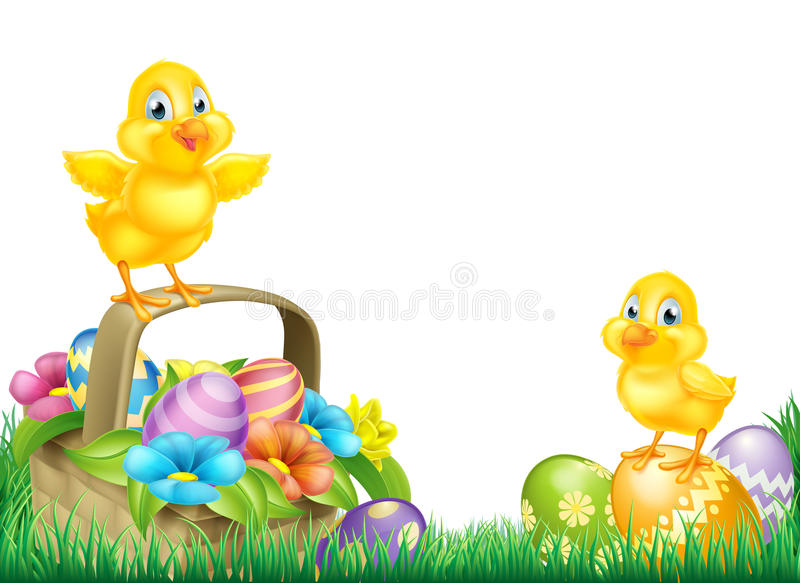 Chicks and Easter Eggs Basket Field. Cartoon Easter Chicks baby chicken birds, chocolate painted Easter Eggs, spring flowers and Easter basket in a field. as a stock illustration