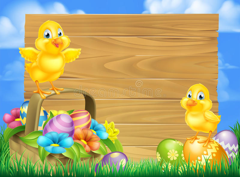 Chicks and Easter Eggs Basket Sign. Wooden cartoon Easter signboard with Easter Chicks baby chicken birds, chocolate painted Easter Eggs, spring flowers and royalty free illustration
