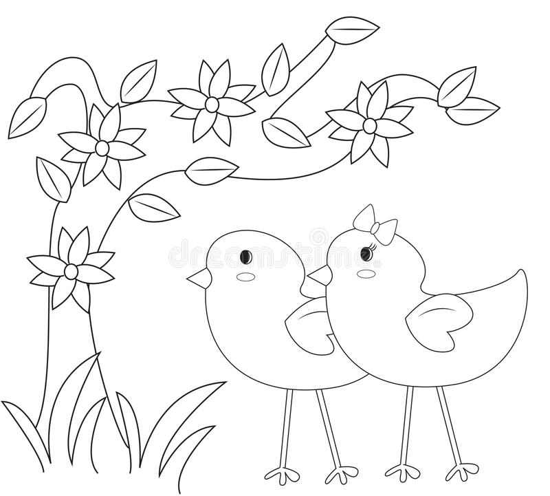 Chicks in the garden coloring page. Useful as coloring book for kids stock illustration