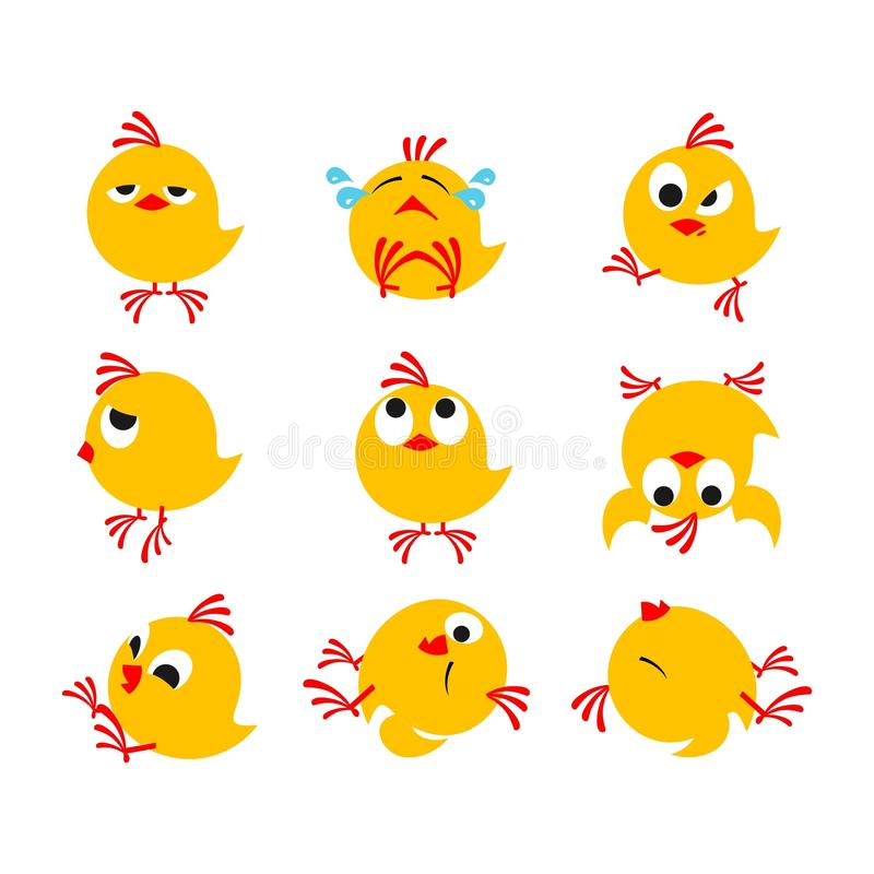 Chicks. Small yellow chicks fun on a white background vector illustration