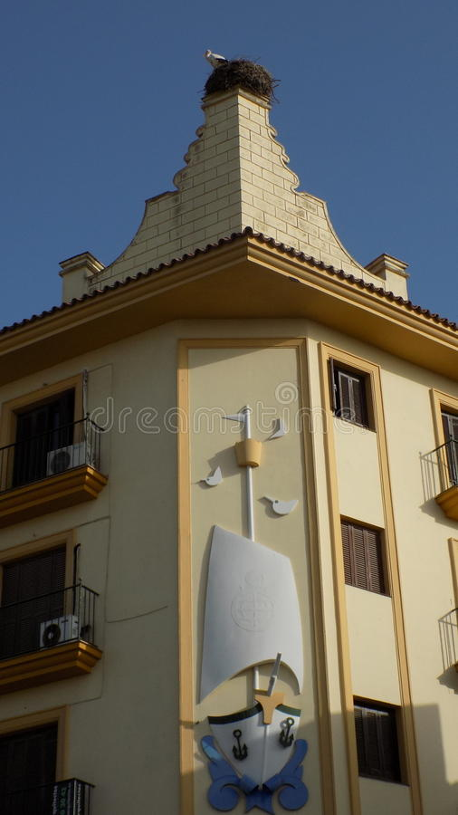 Chiclana de la Frontera. Architecture generic-nest of storks Andalusia- Spain-Europe royalty free stock photography