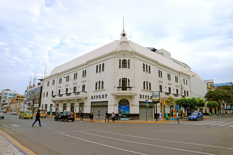 Chiclayo del centro, uno dei soprannomi della città è perla del Nord, la regione di Lambayeque, Perù del Nord immagine stock libera da diritti