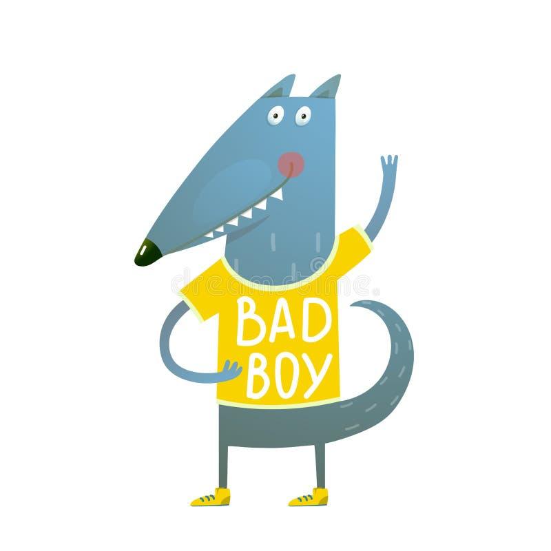 Chico malo de la camiseta del saludo del carácter del lobo o del perro del bebé que lleva stock de ilustración