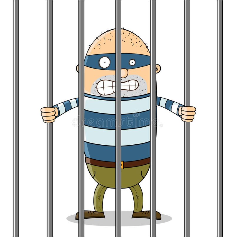 Chico malo en cárcel ilustración del vector
