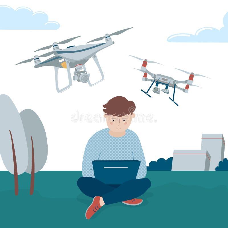 Chico operando drones cuadriláteros a través de sus computadoras portátiles ilustración del vector