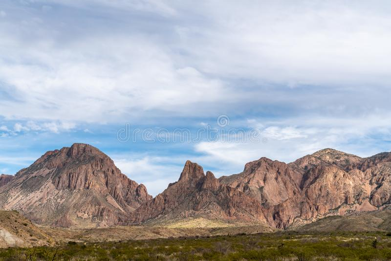 Chicos mountains along Ross Maxwell scenic drive. In Big Bend National Park royalty free stock photo