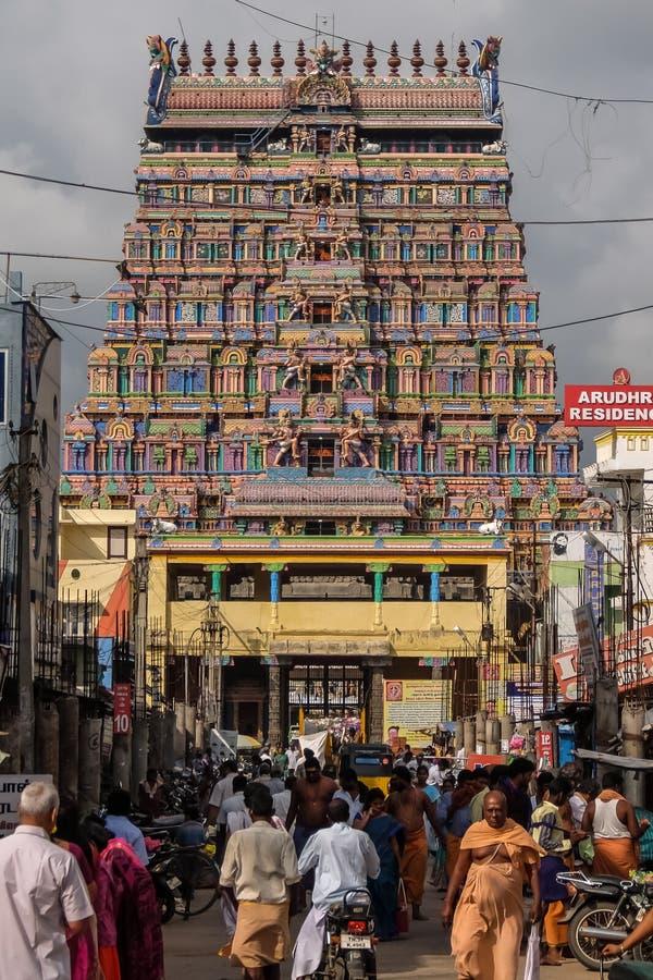 View of Nataraja temple, Chidambaram, India. Chidambaram, India - December, 16th, 2016. Entrance of Nataraja temple stock photos