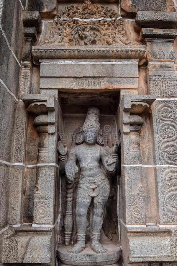View of Nataraja temple, Chidambaram, India. Chidambaram, India - December, 16th, 2016. Inside of Nataraja temple royalty free stock image