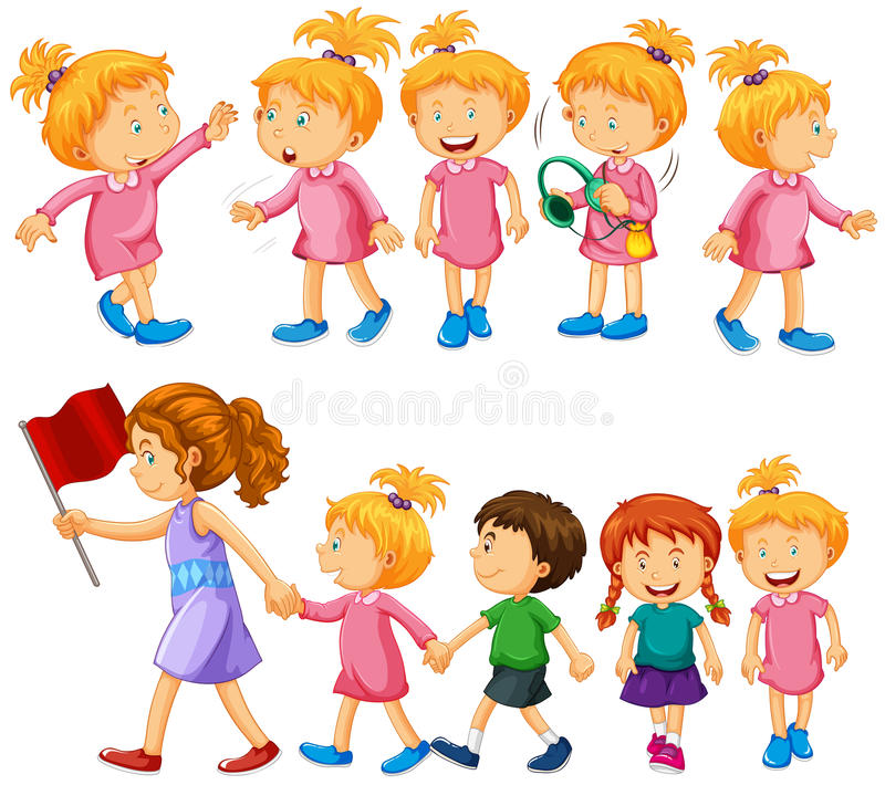 Chidren characters in different actions royalty free illustration