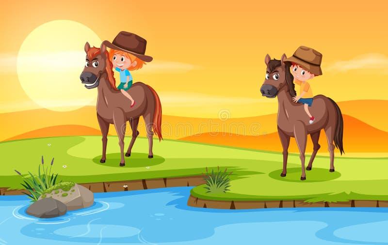 Chidren riding horse in nature vector illustration