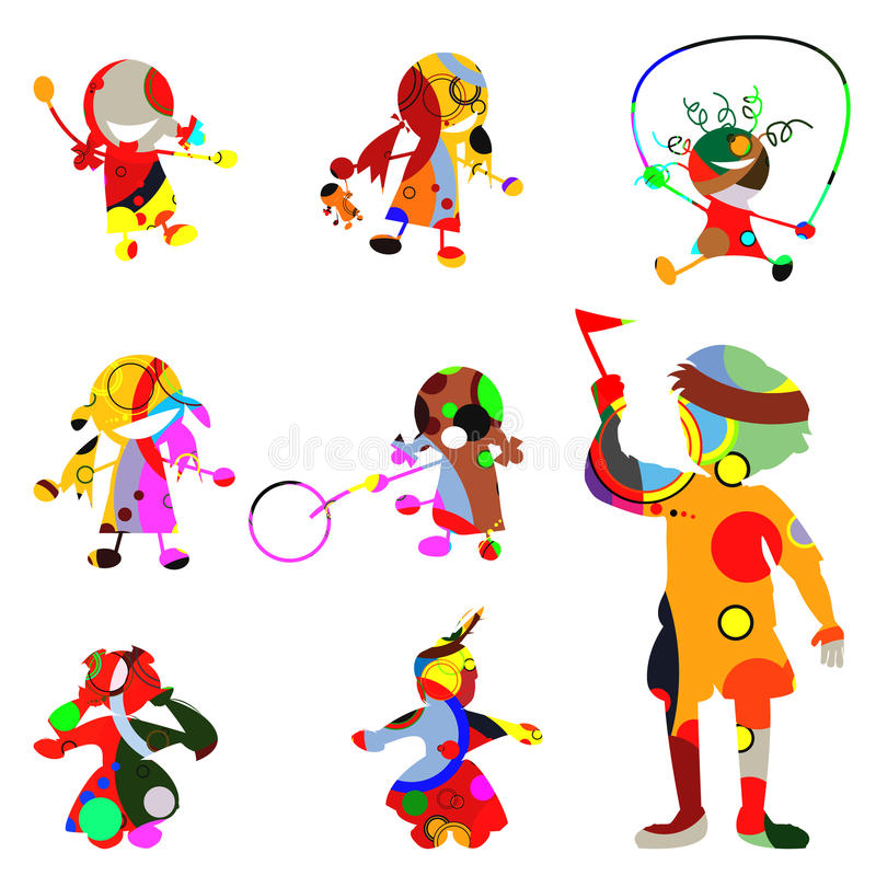 Chidren silhouettes. Stylized children silhouettes made from circles stock illustration
