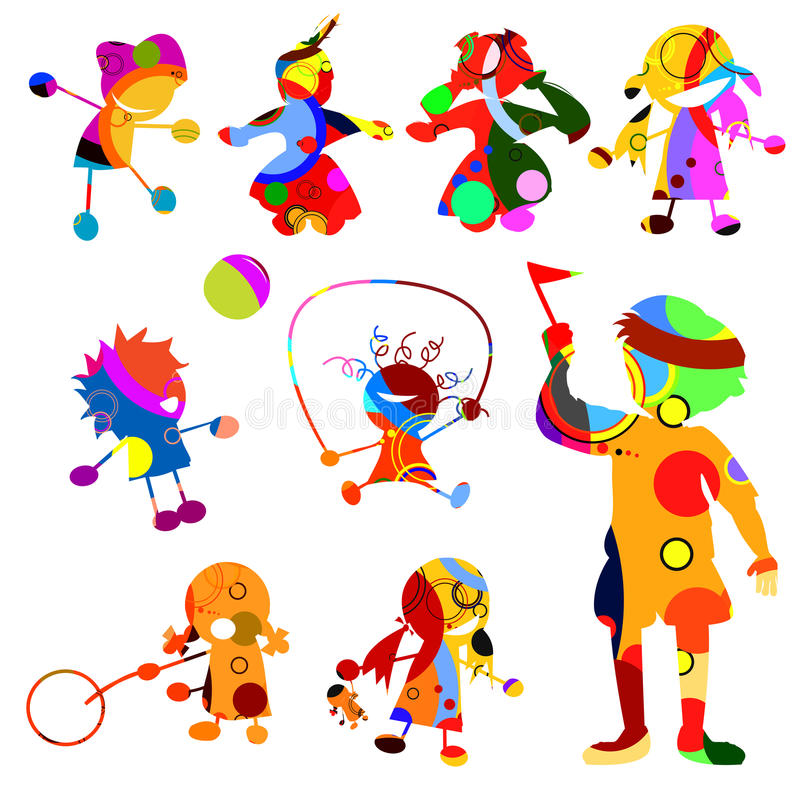 Chidren silhouettes. Children silhouates made from circles stock illustration