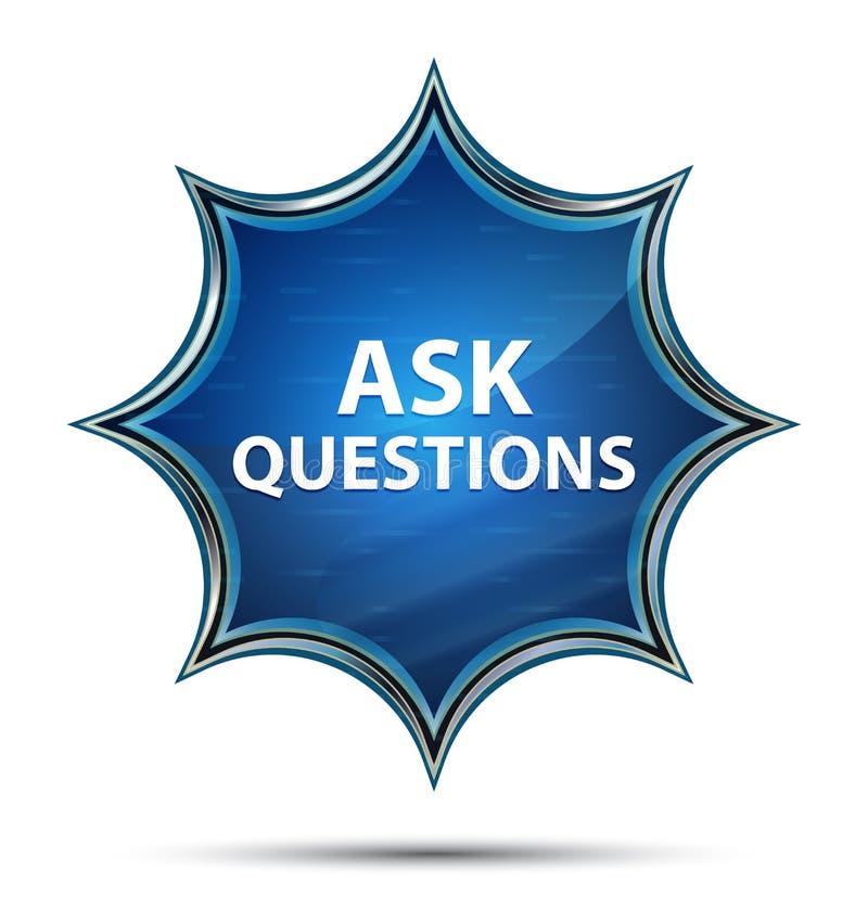 Chieda a domande lo sprazzo di sole vetroso magico bottone blu royalty illustrazione gratis