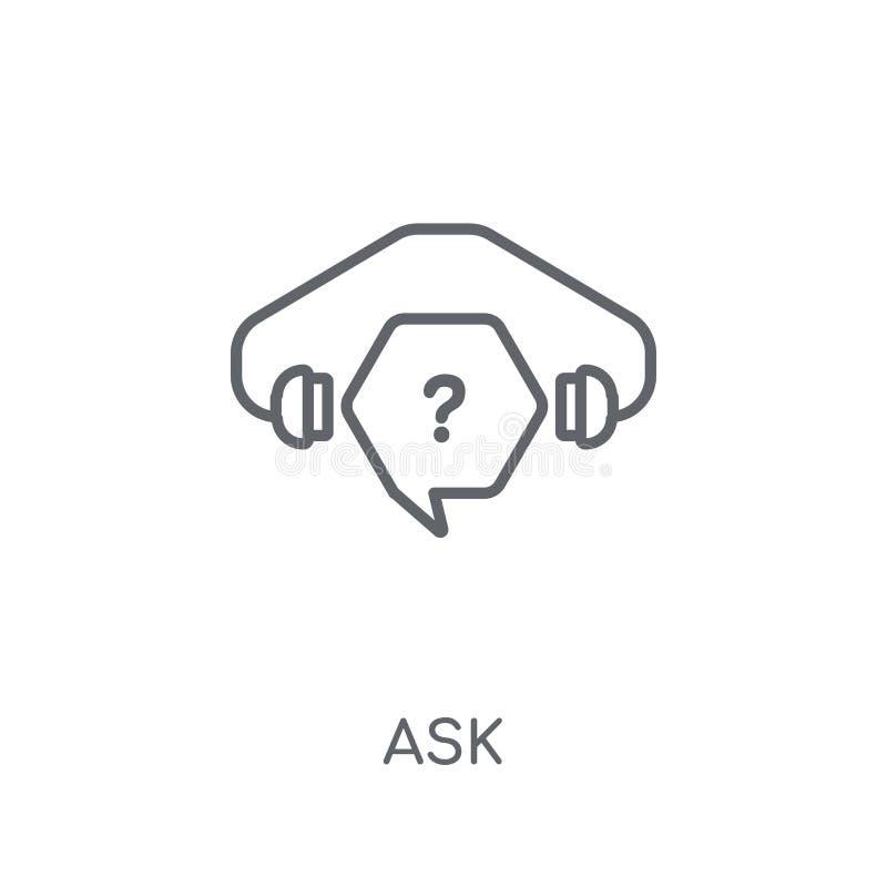Chieda l'icona lineare Il profilo moderno chiede il concetto di logo su backgr bianco royalty illustrazione gratis