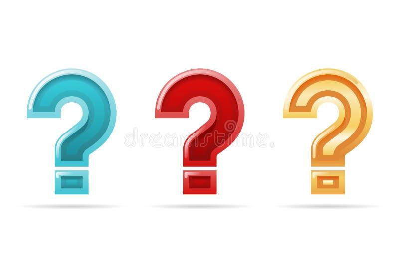 Chieda l'illustrazione di vettore dell'insieme del segno dell'icona di progettazione isolata scelta 3d di confusione del FAQ del  illustrazione vettoriale
