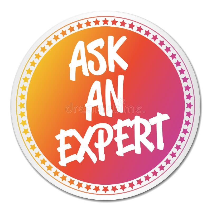 Chieda una carta esperta dell'estratto dell'icona dell'autoadesivo nello stile dell'etichetta illustrazione di stock