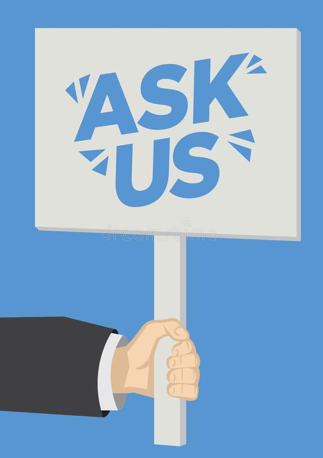 Chiedi un messaggio su un cartello con sfondo blu Concetto di servizio alla clientela, consumismo o marketing illustrazione di stock
